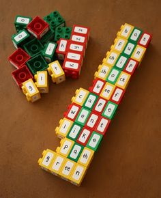 Clever way to teach/encourage kids to learn how to spell -- letter labels on LEGOS...stack the letters to form words!