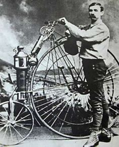 """First """"motorcycle""""   in 1868, a French engineer Louis-Guillaume Perreaux patented a similar steam powered single cylinder machine, the Michaux-Perreaux steam velocipede, with an alcohol burner and twin belt drives"""