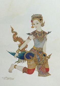 """A kinnara wearing a punjuret"", 1982, watercolor on paper, by a Thai national artist Chakrabhand Posayakrit"