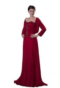 Albizia Burgundy Beading Long Chiffon Mother of the Dresses with Jacket -- To view further, visit now : Mother of the Bride