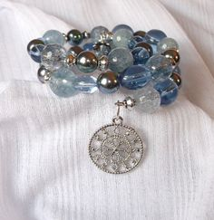 Aquamarine Quartz Iridescent and Glass Bead by JenagiJewelry, $15.99