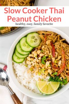 The most amazing crockpot chicken with a creamy Thai peanut sauce made with ingredients you already have in the pantry. Easy, delicious, and a family favorite. This healthy recipe from Slender Kitchen is MyWW SmartPOints compliant and is gluten free, low carb, and paleo. #dinner #freezerfriendly #kidfriendly Healthy Crockpot Recipes, Slow Cooker Recipes, Paleo Recipes, Asian Recipes, Cooking Recipes, Japanese Recipes, Chinese Recipes, Thai Recipes, Dinner Recipes