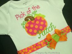 READY TO SHIP Fall Bodysuit- 12 month size Onesie - Pumpkin Onesie - Appliqued Pumpkin in orange, hot pink and green by Designsbyflutterbug on Etsy