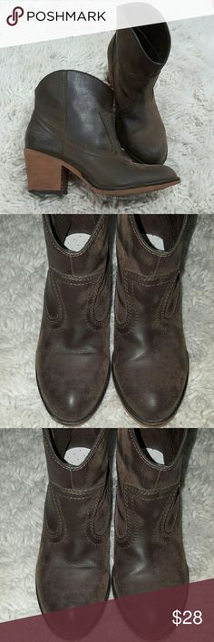 Rocket dog ankle boots Brown, pleather feel. Ankle boots. Rounded toe. Comfy shoe insert. Size 6.5. But id go for more 6. Rocket Dog Shoes Ankle Boots & Booties