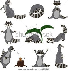 Black and white set, cartoon raccoons. Vector. - stock vector