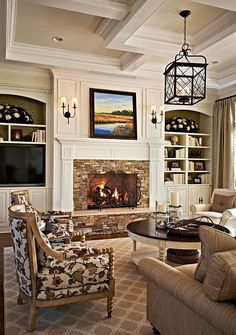 Traditional Living Room Design Ideas, Pictures, Remodel and Decor Home Living Room, Living Room Designs, Living Spaces, Small Living, Modern Living, Family Room Design, Fireplace Design, Fireplace Mantle, Fireplace With Built Ins