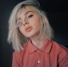 silver long bob | haircut | straight hair | neutral makeup | collared button up top