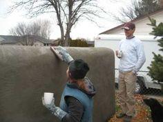 straw bale stucco fence / wall