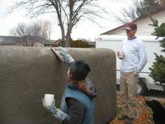 straw bale stucco fence / wall