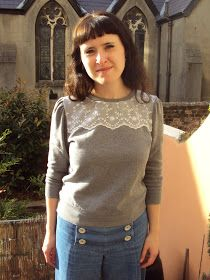 Refashion Co-op: Remade Lace Yoke Sweatshirt