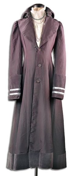 """""""Amethyst"""" long purple coat with white stripes from Victorian Trading Co."""