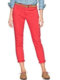 Coral Cropped Jeans