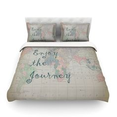 "Catherine Holcombe ""Journey"" World Map Cotton Duvet Cover from KESS InHouse"