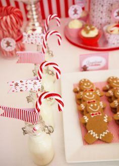 Polar Express Party: mini milk bottles with candy canes | Bird's Party Blog