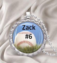 bottle cap jewelry | Custom Baseball Bottle Cap Necklace