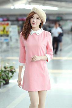 Womens fashion doll Collar Pure color Slim Korean Style 3/4 Sleeve Dress | eBay