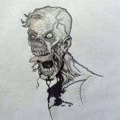 Quick zombie sketch. March 2012.