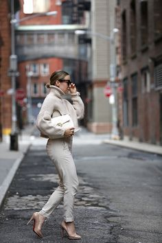 Monochromatic Cream Outfit, Helena of Brooklyn Blonde Winter Office Outfit, Office Outfits, Winter Outfits, Cool Outfits, Office Attire, Spring Outfits, June Gloom, Brooklyn Blonde, Work Casual