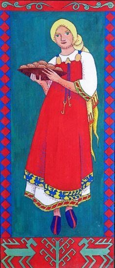 One of my paintings showing Roskva, the bondsmaid of the Norse god Thor.  She is wearing Viking costume.