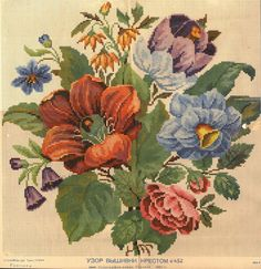 A Berlin WoolWork Floral Bouquet Pattern Produced By M Levy In Berlin Embroidery Patterns Free, Vintage Embroidery, Cross Stitch Embroidery, Hand Embroidery, Cross Stitch Charts, Cross Stitch Patterns, Berlin, Paint Charts, Vintage Textiles