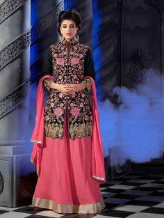 Black Bhagalpuri Silk Suit with Embroidery Work