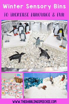 winter sensory bins to increase language and engagement. Use a sensory bin to keep the fun in speech!