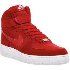Nike Air Force 1 Hi ($120) ❤ liked on Polyvore featuring shoes, sneakers, gym red, trainers, unisex sports, red sneakers, sports trainer, sport shoes, sport sneakers and red high top shoes