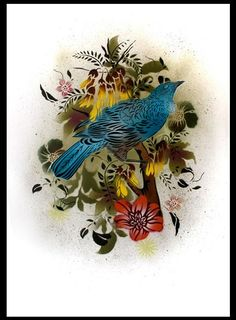 """Flox (Haley King) is one of my favourite local artists. This is """"Tui"""" and is spray paint and stencil. Simon got me """"Tui"""" for Christmas - it makes my heart sing! Bird Stencil, Stencil Art, Art Beat, New Zealand Art, Nz Art, Maori Art, Mural Art, Local Artists, Animal Paintings"""