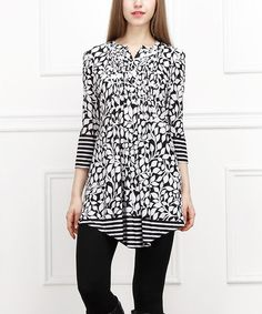 Loving this Black & White Leaves Notch Neck Tunic on #zulily! #zulilyfinds
