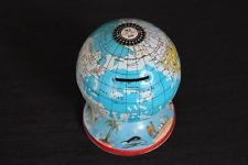 Vintage Small Metal Globe Coin Bank World Globe Metal Base with Travel Symbols