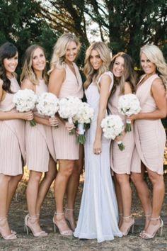 Love the blush dresses Bridesmaid Flowers, Be My Bridesmaid, Bridesmaid Dresses, Wedding Dresses, Bridesmaids, Wedding Flowers, Wedding Goals, Wedding Attire, Dream Wedding