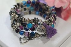 Purple and Blue Agate Gemstone, Love and Heart Tassel Memory Wire Wrap Bracelet - New Sites Wire Wrapped Bracelet, Memory Wire Bracelets, Beaded Bracelets, Natural Stone Jewelry, Agate Gemstone, Metal Beads, Etsy Jewelry, Round Beads, Silver Charms