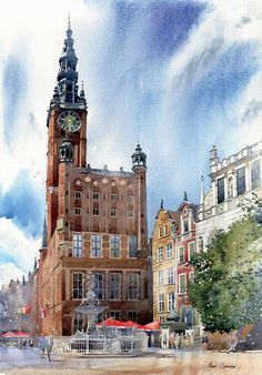 """https://www.facebook.com/MiaFeigelson """"Townhall in Gdansk, Baltic Sea"""" (Poland) By Michal Suffczynski, Polish Architect and Watercolor Artist  - watercolor; 70 x 50 cm - https://www.facebook.com/pages/Michal-Suffczynski/118101494905031 http://www.suffczynski.art.pl/"""