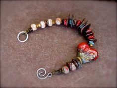 Artisan Organic Beaded Heart Bracelet Lampwork by KissOfVenus, $36.00