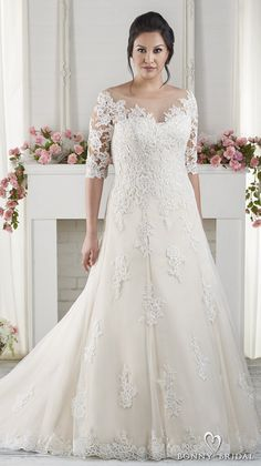 Bonny Bridal Wedding Dresses 2017 half sleeves sweetheart neckline heavily embellished bodice plus size drop waist modified a  line wedding dress chapel train (1618) mv -- #bonnybridal #wedding #bridal #weddingdress #plussize #lace #romantic