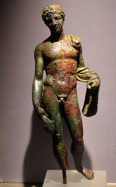 Nikopolis Museum: Hermes Bronze statuette from Nikopolis,Roman period Archeological Museum of Nikopolis,Prevenza,Epirus,Greece