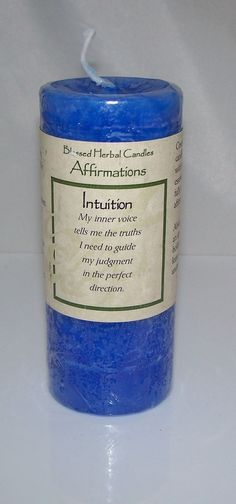 Affirmations Intuition Candle - Coventry Creations Affirmation Candle A brilliant blue candle with a breath of lavender From the Affirmations collection by Coventry Creations A perfect candle to suppo