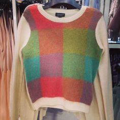 Tick off two cool autumn trends with our checked fluffy jumper! Product code: 23N23EMUL #knit #jumper #fluffy #checks #cosy #colours #AH13 #wool #welove #topshopoxfordcircus