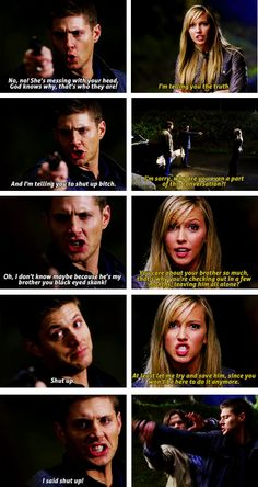 [SET OF GIFS] 3x09 Malleus Maleficarum <--- Well, Dean was right in the end. Shes the reason Sam started the apocalypse.