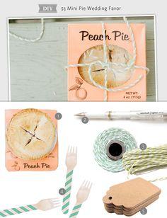 $3 Mini Pie Favor Idea for the Rustic Bride | https://www.theknot.com/content/3-favor-for-the-rustic-bride