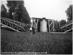 Blown up railroad bridge over the Rur (Roer) river