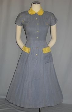 Vintage NOVELTY 1940s 50s Art Deco Wwii Dress WESTERN SWING Embroidered Arrows Chambray 1950s 40s