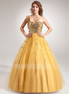 [US$ 176.99] Ball-Gown One-Shoulder Floor-Length Tulle Sequined Prom Dress With Beading (018022508)