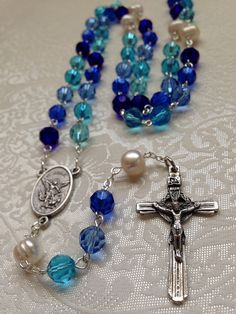 St Michael Catholic Rosary, Five shades of blue crystal, freshwater pearls