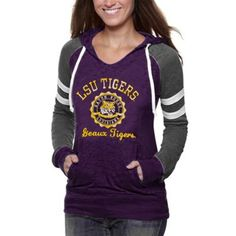 LSU Tigers Ladies Formerly Burnout V-Neck Hoodie - Purple/Charcoal