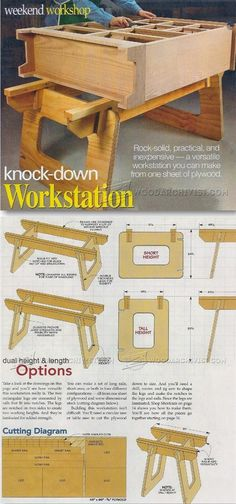 Knock Down Rock Solid Workstation Plans - Workshop Solutions Projects, Tips and Tricks Small Woodworking Projects, Woodworking Bench, Diy Wood Projects, Woodworking Shop, Wood Crafts, Woodworking Workshop Plans, Woodworking Skills, Woodworking Techniques, Repurposed Furniture