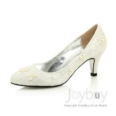 Flowers Lace White Shoes for Wedding Low Heel
