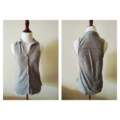 Gray speckled button up top Sleeveless collared top. Gilly hicks brand crossed out to prevent returns. Gilly Hicks Tops Button Down Shirts