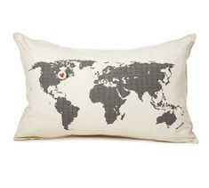 map pillow: cover only by pilosale on Etsy