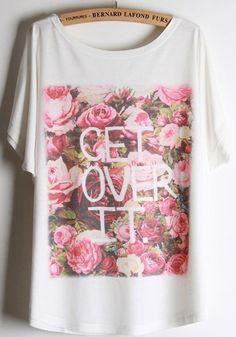 White Flowers Print Short Sleeve Cotton Blend T-Shirt